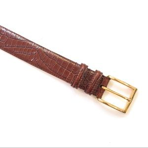 NWOT Talbots Tan Brown Leather Croc Belt